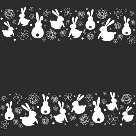 Easter background with bunnies and flowers. Vector Ilustração
