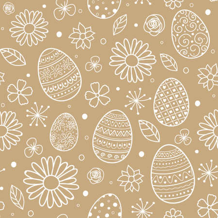 Hand drawn Easter eggs and flowers. Concept of a background. Vector Ilustração