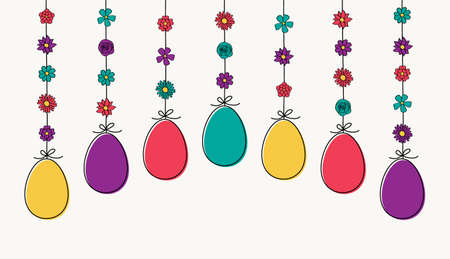 Hanging Easter eggs. Hand drawn decoration. Vector Vectores