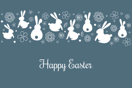Happy Easter. Simple card with bunnies and flowers. Vector Ilustração