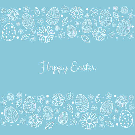 Easter greeting card with hand drawn eggs and flowers. Vector
