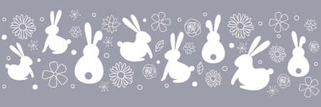 Easter banner with cute with bunnies flowers. Vector