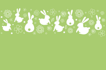 Simple Easter background with hand drawn bunnies and flowers. Vector Ilustração