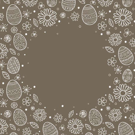 Easter background with cute with decorative eggs and flowers. Vector
