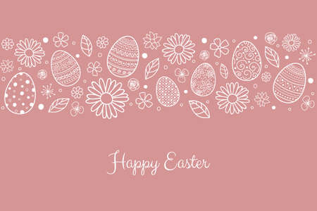 Concept of Easter greeting card with eggs and flowers. Vector