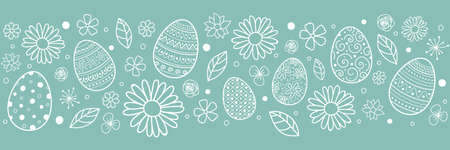Template of Easter header with eggs and flowers. Vector
