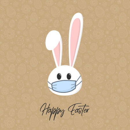 Easter bunny with face mask. Concept of holidays during coronavirus pandemic. Vector Vectores
