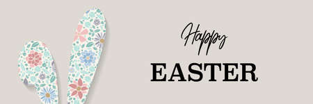 Colorful Easter bunny with greetings. Panoramic header. Vector Ilustração