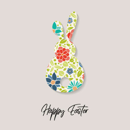 Easter greeting card with colorful bunny. Vector Vectores