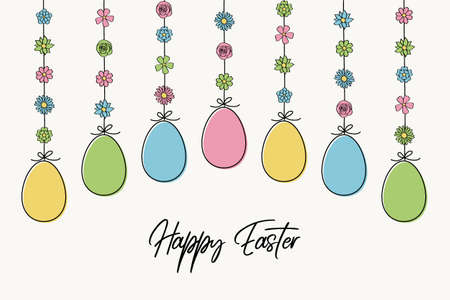 Colorful hanging Easter eggs with wishes. Vector
