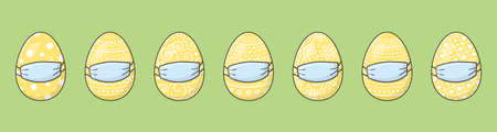 Hand drawn Easter eggs with masks. Panoramic header. Covid19 epidemic. Vector