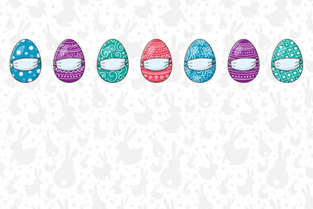 Hand drawn Easter eggs with masks. Empty background. Covid19 epidemic. Vector