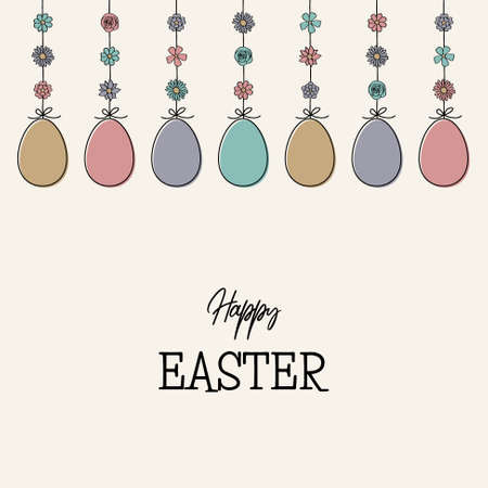 Hanging Easter eggs with wishes. Hand drawn decorations. Greeting card. Vector