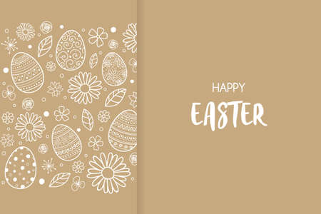 Happy Easter. Design of simple card with eggs and flowers. Vector Ilustração
