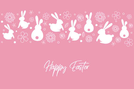 Easter greeting card with bunnies over flowers. Vector