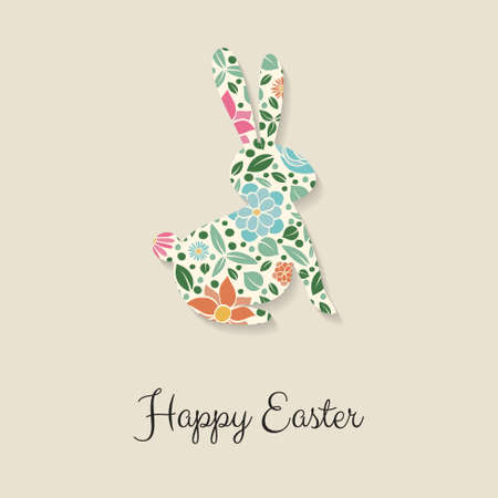 Colorful Easter bunny with greeting. Vector