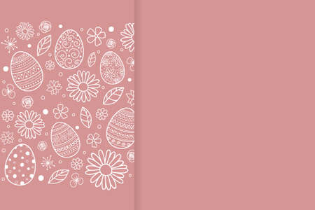 Easter background with eggs and flowers. Vector