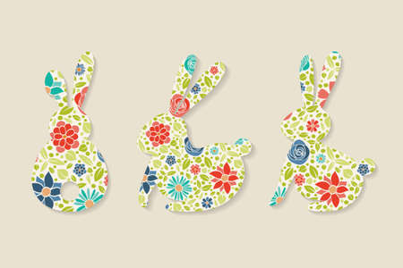 Collection of Easter bunnies with floral texture. Vector Vectores