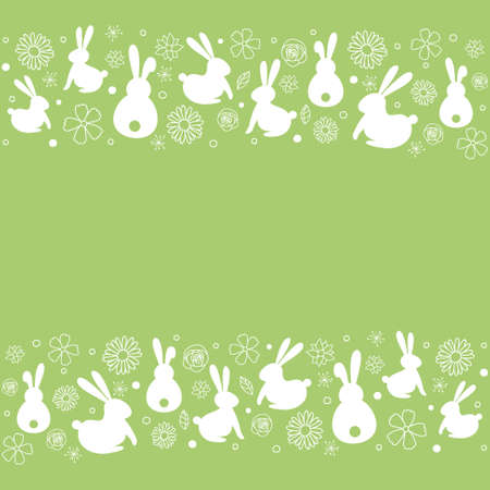 Bunnies and flowers on background with copyspace. Vector