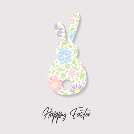 Colorful bunny with flowers. Easter greeting card. Vector