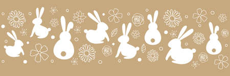Easter banner with bunnies and flowers. Vector