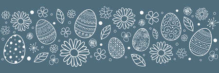Concept of Easter header with hand drawn eggs and flowers. Vector Vectores