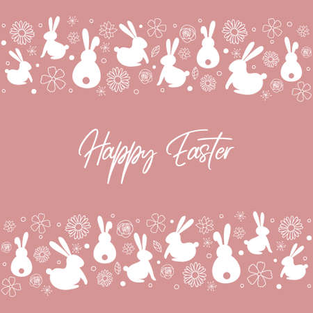 Easter greeting card with hand drawn bunnies and flowers. Vector Vectores