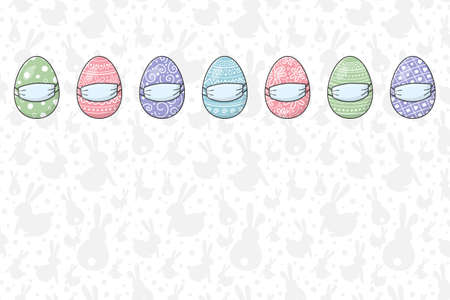 Easter eggs with face masks. Concept of greeting card template during coronavirus pandemic. Vector
