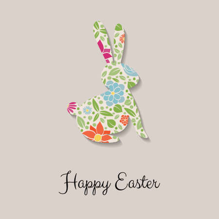 Easter bunny with flowers. Colorful greeting card. Vector Vectores
