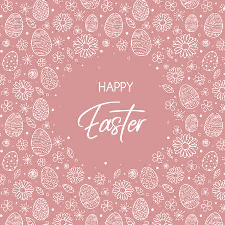 Happy Easter. Design of simple card with eggs and flowers. Vector Vectores