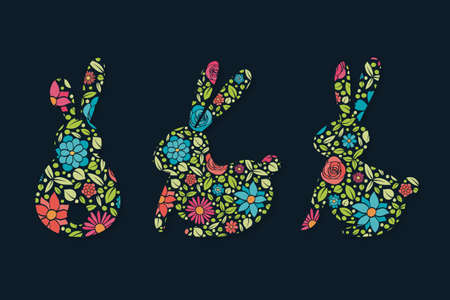 Easter bunnies with flowers. Colorful icon set. Vector