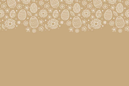 Simple Easter background with hand drawn eggs and flowers. Vector Vectores
