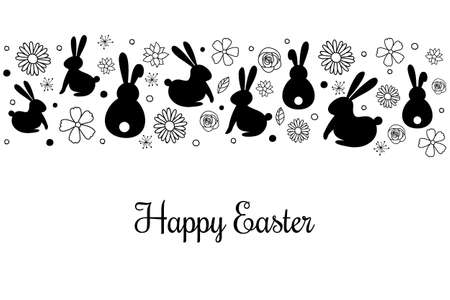 Happy Easter. Card with bunnies and flowers. Vector Vectores