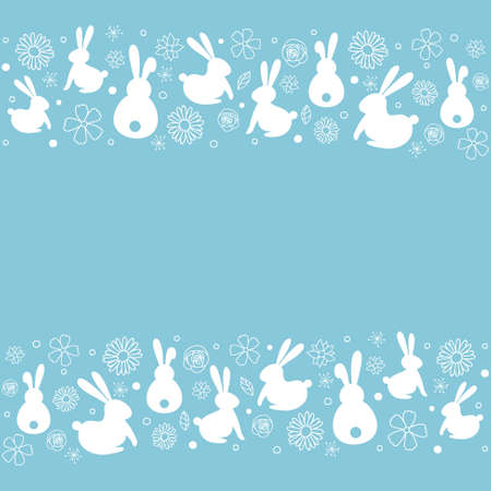 Simple Easter background with hand drawn bunnies and flowers. Vector Vectores