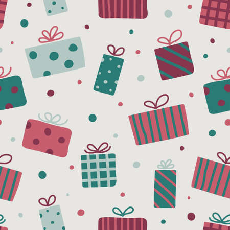 Christmas pattern with hand drawn gift boxes. Vector