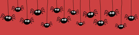 Banner with creepy spiders. Halloween concept. Vector