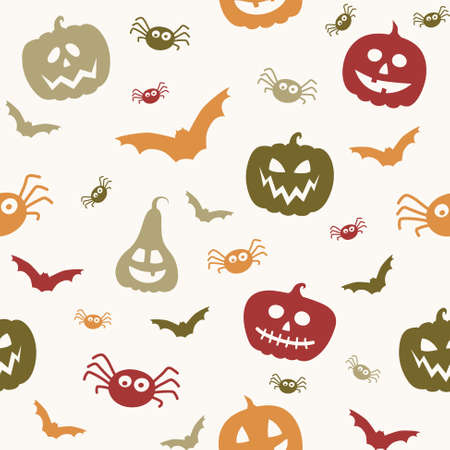 Halloween pattern with funny pumpkins, bats and spiders. Wallpaper. Vector