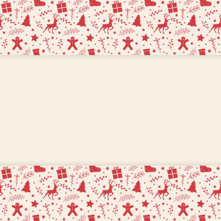 Concept of an empty background with festive ornaments. Christmas design. Vector Illustration