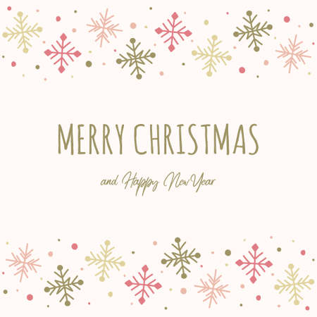 Xmas greeting card with snowflakes. Christmas design. Vector