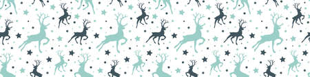 Christmas pattern with reindeer and star icons. Vector Illustration
