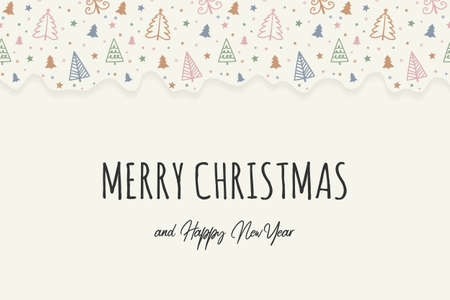 Greeting card with Christmas trees and wishes. Vector