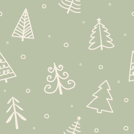 Design of pattern with Xmas trees. Christmas concept. Vector