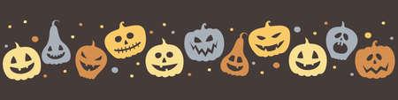 Creepy pumpkin lanterns. Halloween banner concept. Vector