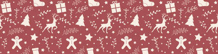 Christmas pattern with festive decorations. Panoramic header. Vector