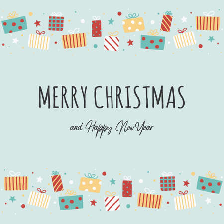 Greeting card with Christmas present boxes and wishes. Vector