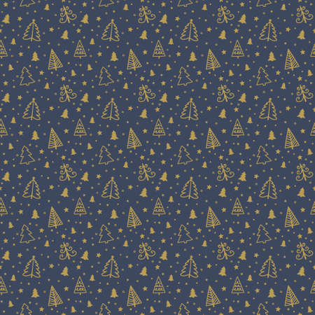 Concept of a seamless pattern with Christmas trees. Xmas background. Banner. Vector Illustration