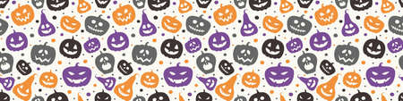 Funny Halloween banner with pumpkins. Seamless pattern. Vector