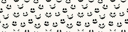 Halloween banner with funny pumpkin face. Wallpaper. Vector Illustration