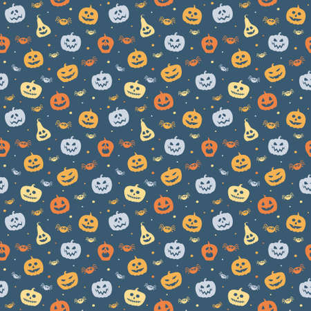 Creepy Halloween wallpaper with pumpkins and spiders. Seamless pattern. Vector