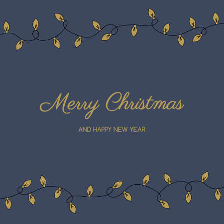 Christmas greeting card with festive lights. Vector Illustration